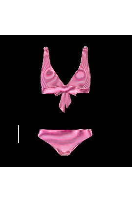 Bikini Triangular Rayas Rojas